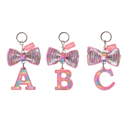 Rainbow Sequin Bow Alphabet Keyring