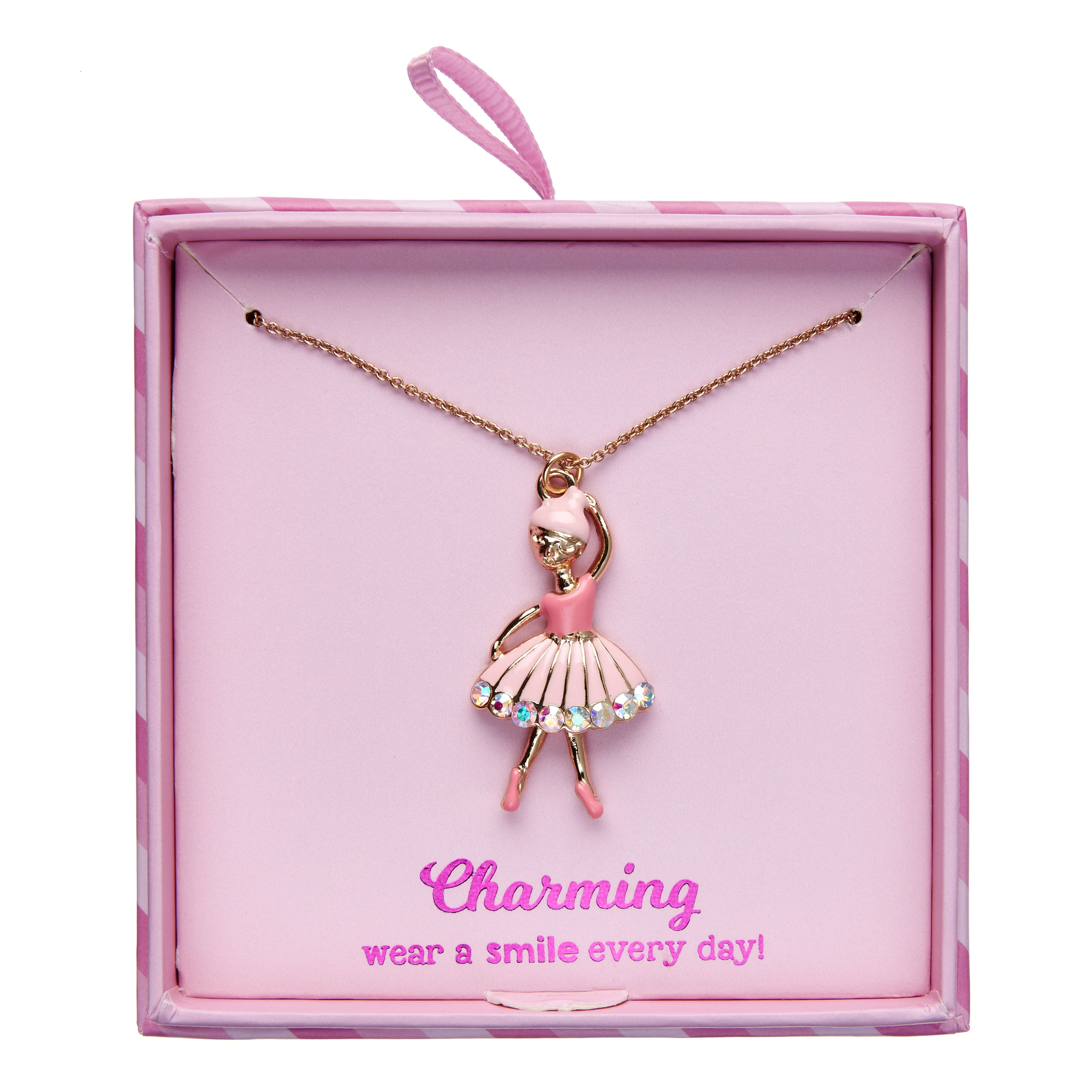 Charming Ballet Pendant Necklace Gift Box